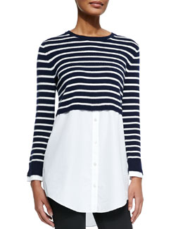 Rymalia Striped Cropped Sweater w/Underlay