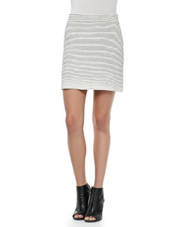 Nilmee Striped Puckered Pencil Skirt