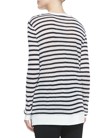 Long-Sleeve Striped Crewneck Tee