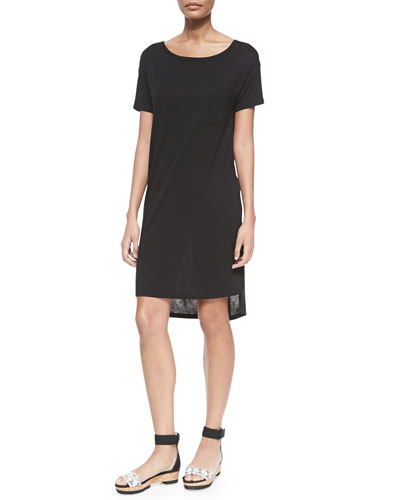 Short-Sleeve T-Shirt Dress with Pocket