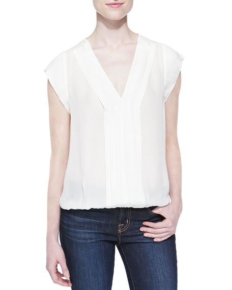 Joie Marcher V-Neck Top with Pleated Front, White
