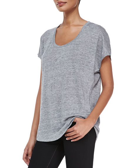 Maddie Scoop-Neck Short-Sleeve Linen Top, Gray