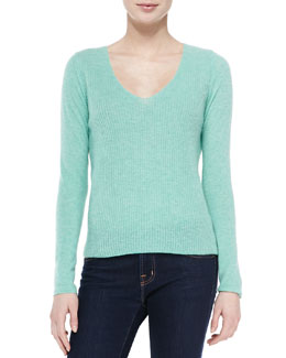 Cashmere Luscinia Ribbed Scoop-Neck Sweater