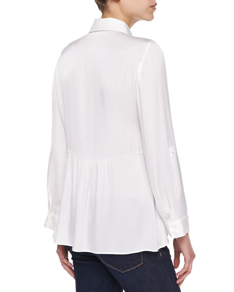 Beau Flare-Back Silky Blouse