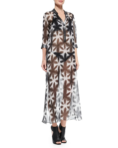 Nehru Sequin-Trim Caftan Coverup