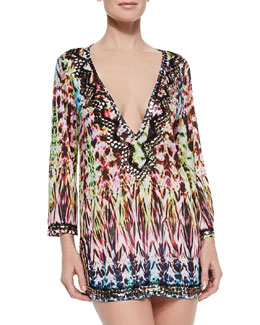 Batik Printed Beaded Deep-V Coverup