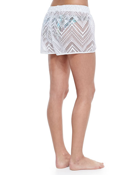 Pull-On Crochet Coverup Shorts