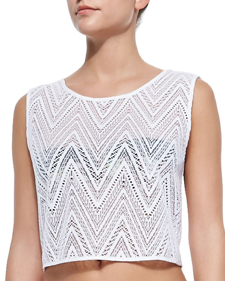 See-Through Crochet Coverup Crop Top