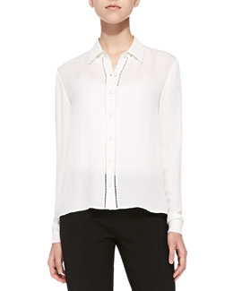 Perforated Long-Sleeve Silk Blouse