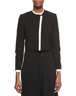 Contrast-Trim Cropped Jacket