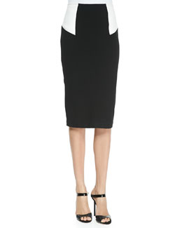 High-Waist Colorblock Pencil Skirt