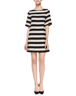 Mandy Striped Shimmery Shift Dress