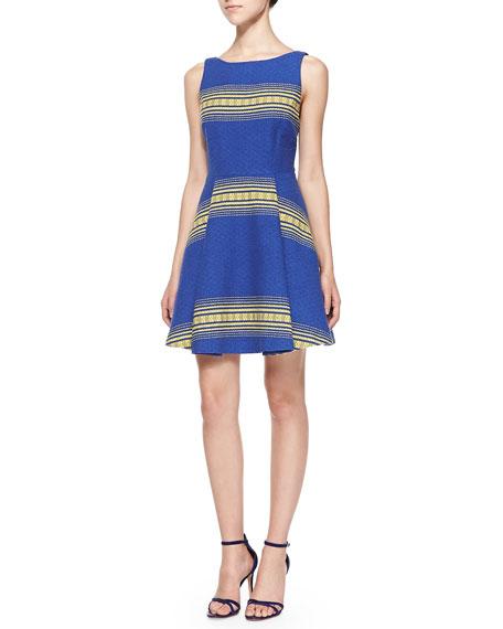 Holis Striped Jacquard A-Line Dress