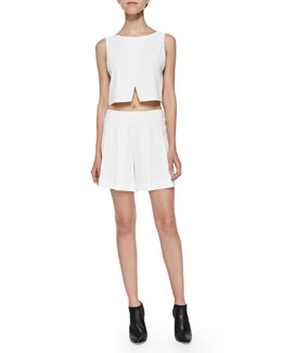 Sleeveless Cross-Front Crop Top
