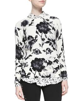 Crewneck Floral-Print Pullover
