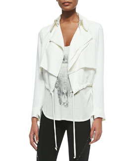Cropped Draped Trench Jacket