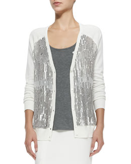 V-Neck Cardigan W/ Sequined Front