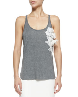 Scoop-Neck Tank W/ 3D Floral Appliqué