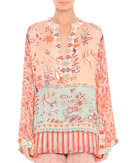 Fringe-Hem Mixed-Print Tunic