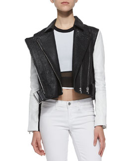 Forge Cropped Leather Biker Jacket