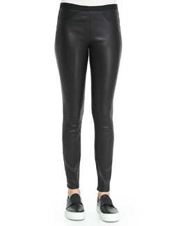 Pull-On Leather Leggings