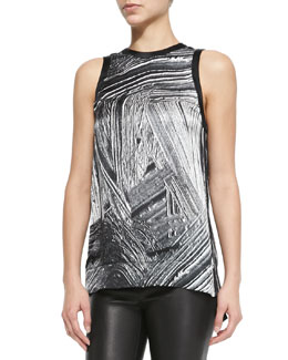 Method Printed Silk Sleeveless Top