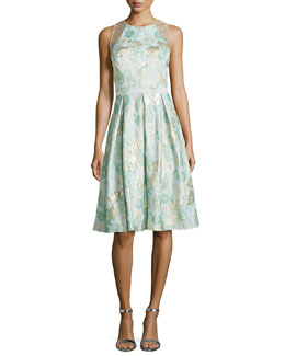 Jacquard Full-Skirt Cocktail Dress