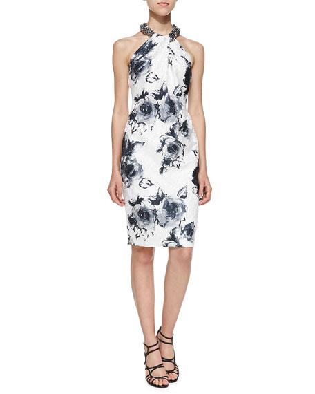 Floral-Print Beaded-Neck Cocktail Dress