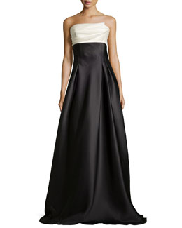 Strapless Colorblock Charmeuse Ball Gown