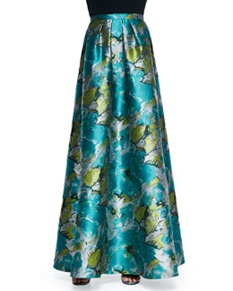 Floral Printed Charmeuse Ball Skirt