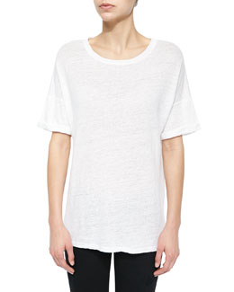 Le Boyfriend Stretch-Knit Tee, Blanc