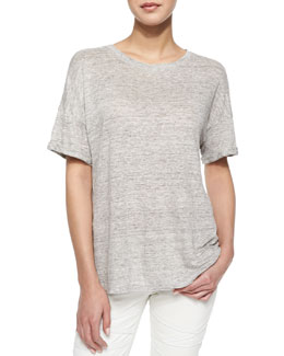 Le Boyfriend Cotton-Blend Tee, Gris