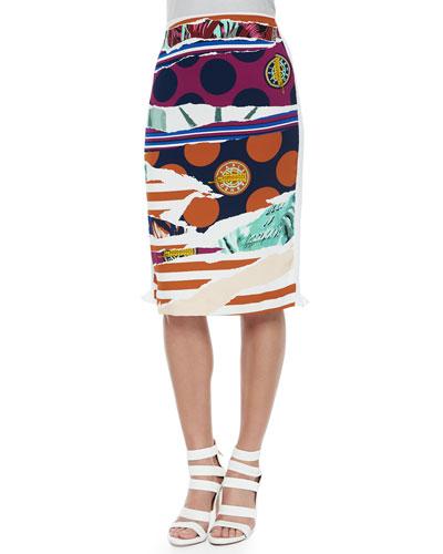Torn-Paper-Print Pencil Skirt