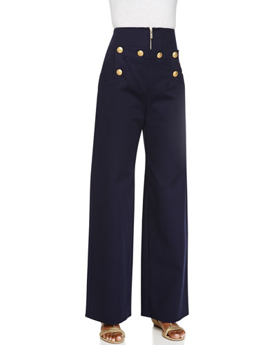 Button-Front Cotton Trousers