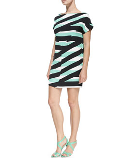 Short-Sleeve Dress with Z Stripes