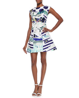 Torn Paper Printed Satin Dress