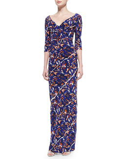 3/4-Sleeve Torn Flowers-Print Maxi Dress