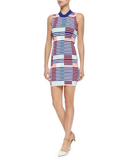 Sleeveless Ribbed Intarsia Dress