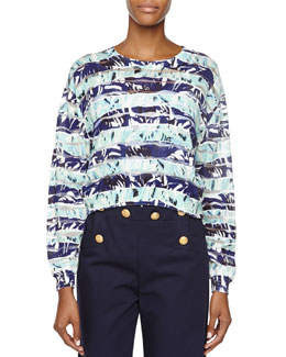 Striped Floral Long-Sleeve Top