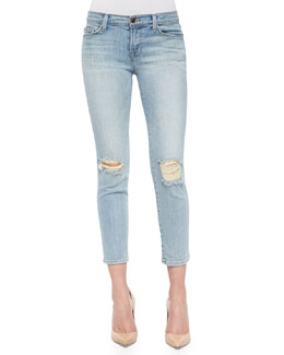 Cropped Faded Mid-Rise Jeans, Dropout