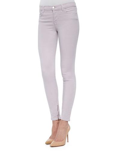 8428 Cropped Zip-Hem Skinny-Fit Jeans, Light Purple