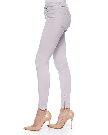 8428 Cropped Zip-Hem Skinny-Fit Jeans, Light Purple