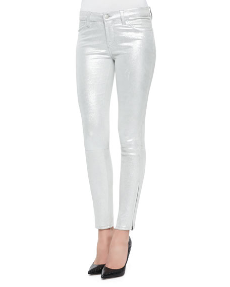 Metallic Suede Skinny-Fit Jeans, Silver Shadow
