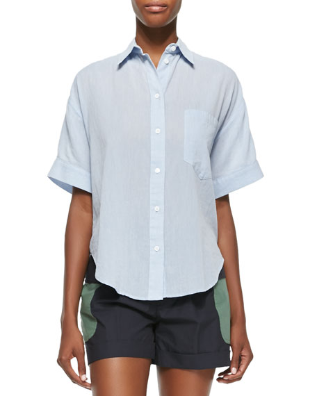 Short-Sleeve Grandpa Cotton Shirt