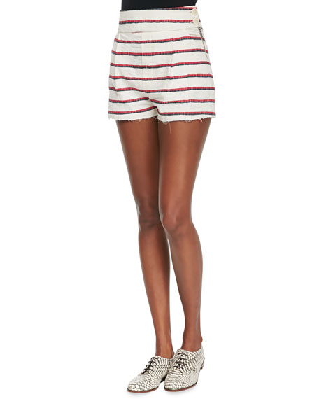 Band of Outsiders High-Waisted Striped Short Shorts