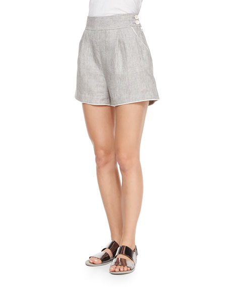 Band of Outsiders High-Waist Linen Delave Shorts