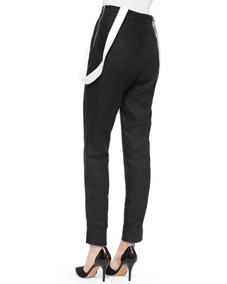 High-Waist Linen Pants with Suspenders