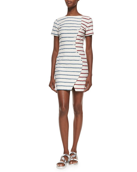 Band of Outsiders Short-Sleeve Striped Wavy-Placket Dress