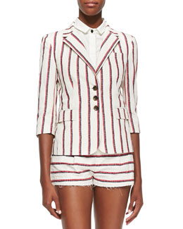 3/4-Sleeve Striped Schoolboy Blazer