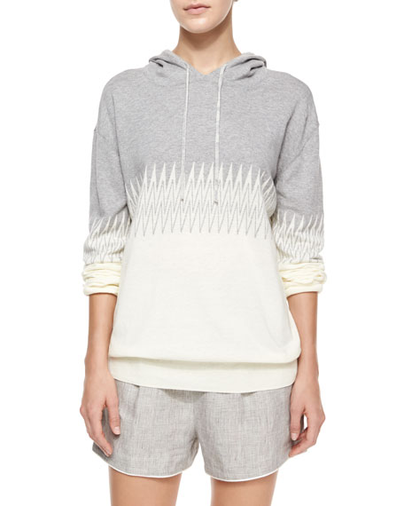 Band of Outsiders Zigzag-Print Cotton Hoodie
